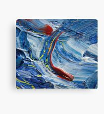 Red spot on blue abstract painting photography  Canvas Print