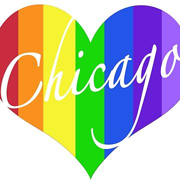 Chicago Rainbow Heart by MightyFineGoods