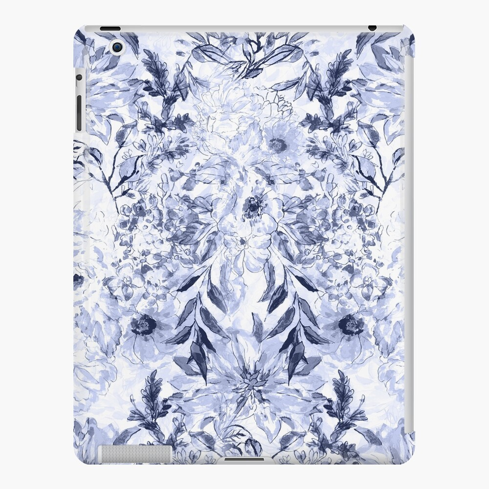 Pintura floral gris acuarela de la mano Funda y vinilo para iPad