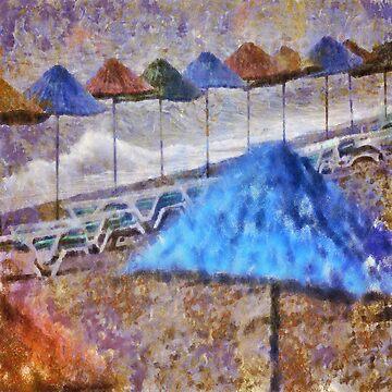 Beach Umbrellas In Impressionist Style by taiche
