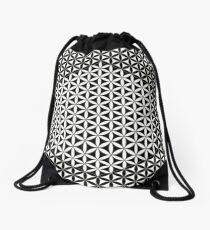 Flower of Life, Black White Drawstring Bag