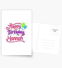 Happy Birthday Hannah Postcards