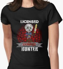 Licensed Zombie Hunter Distressed Women's Fitted T-Shirt
