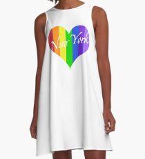New York Rainbow Heart A-Line Dress
