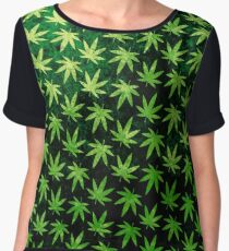 Marijuana Pattern Chiffon Top