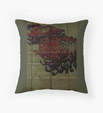 DIGITAL fLowers _ Red Chrysanthemums Throw Pillow