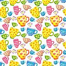 Coloured watercolor cups on white background by ekvikoncey