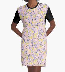 Golden Wattle - Navy & Blush Graphic T-Shirt Dress