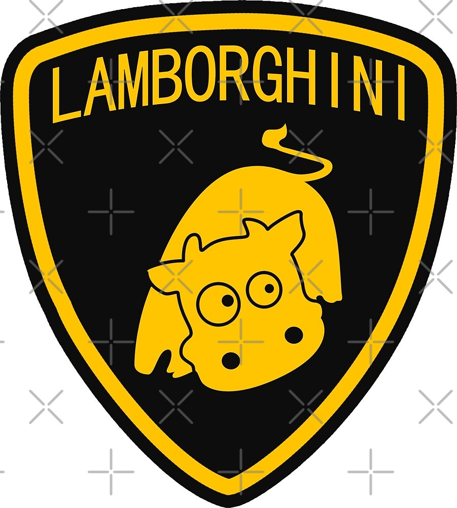 cute cow lamborghini logo by xever redbubble