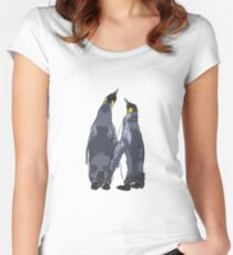 Penguins holding flippers Women's Fitted Scoop T-Shirt