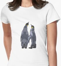 Penguins holding flippers Women's Fitted T-Shirt