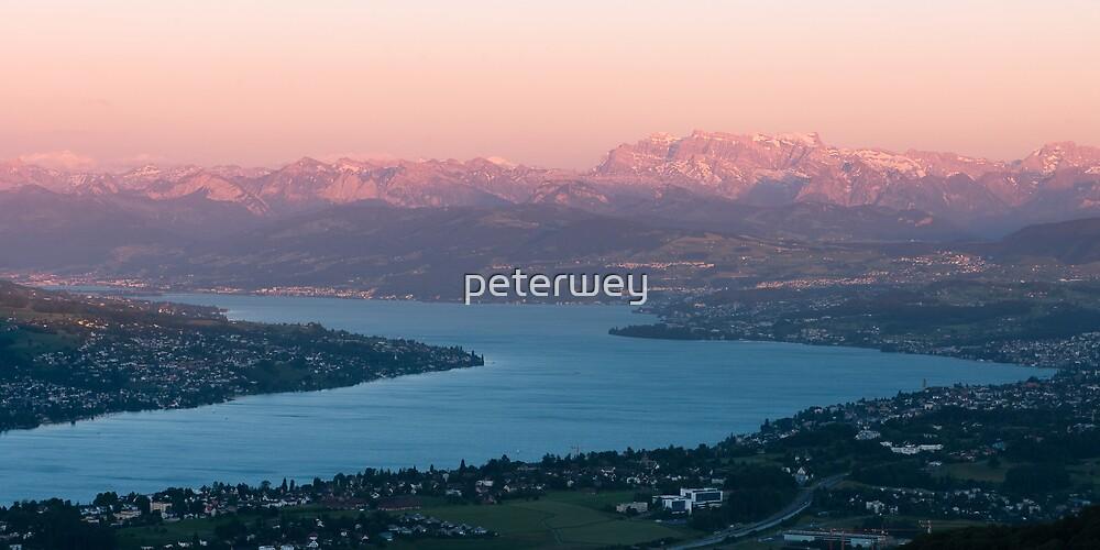 sunset scenery at lake zuerich by peterwey