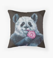 Cojín pintura con pinturas al óleo Panda con caramelos