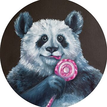 painting with oil paints Panda with candy by Eevlada