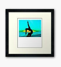 Yoga on the Beach with Sexy Girl T-shirt Framed Print