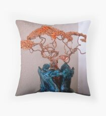 Copper Tree in Double Dragon  Throw Pillow