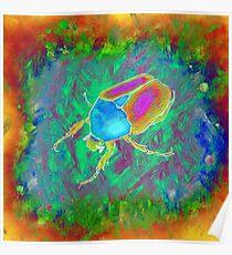 Protaetia cuprea ignicollis (Flower Beetle) - Psychedelic version Poster