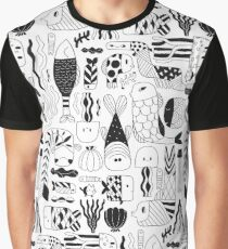 Doodle black & white funny fish pattern Graphic T-Shirt