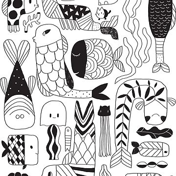 Doodle black & white funny fish pattern by kostolom3000