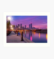 City Dreams - Chicago Skyline And City Lights as Night Falls Art Print