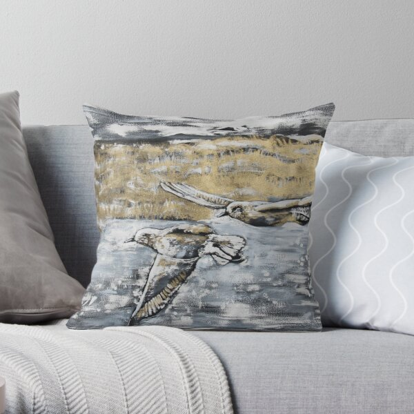 Silver Plovers in Kamouraska Throw Pillow