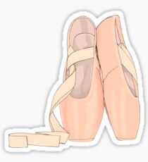 Pointe shoes peach for cute ballerina Sticker