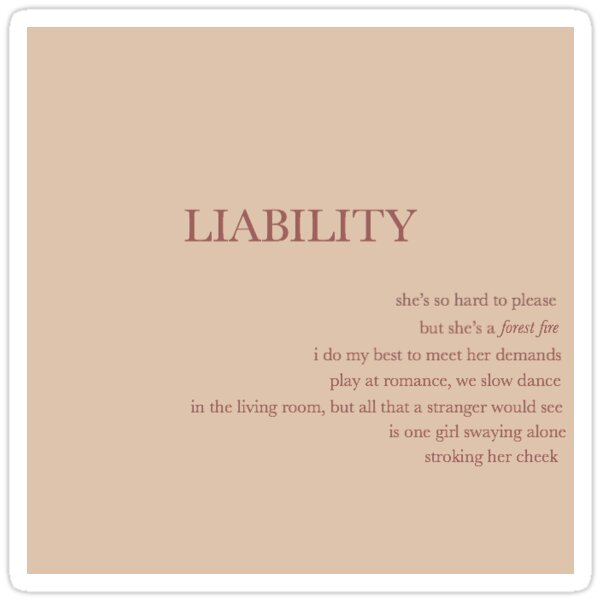 Lorde - Liability Lyric Art