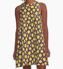 Yellow Daffodils on Dark Blue Background A-Line Dress