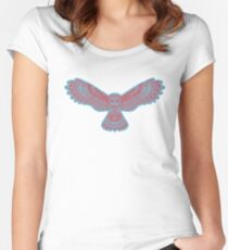 Flying Nocturnal Owl In Mosaic Art  Women's Fitted Scoop T-Shirt