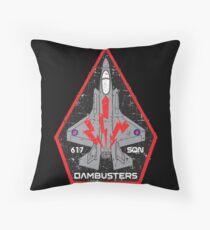 F-35 Lightning II No. 617 SQN - Dambusters (RAF) - Grunge Style Throw Pillow