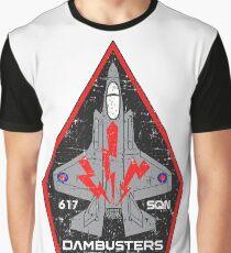 F-35 Lightning II No. 617 SQN - Dambusters (RAF) - Grunge Style Graphic T-Shirt