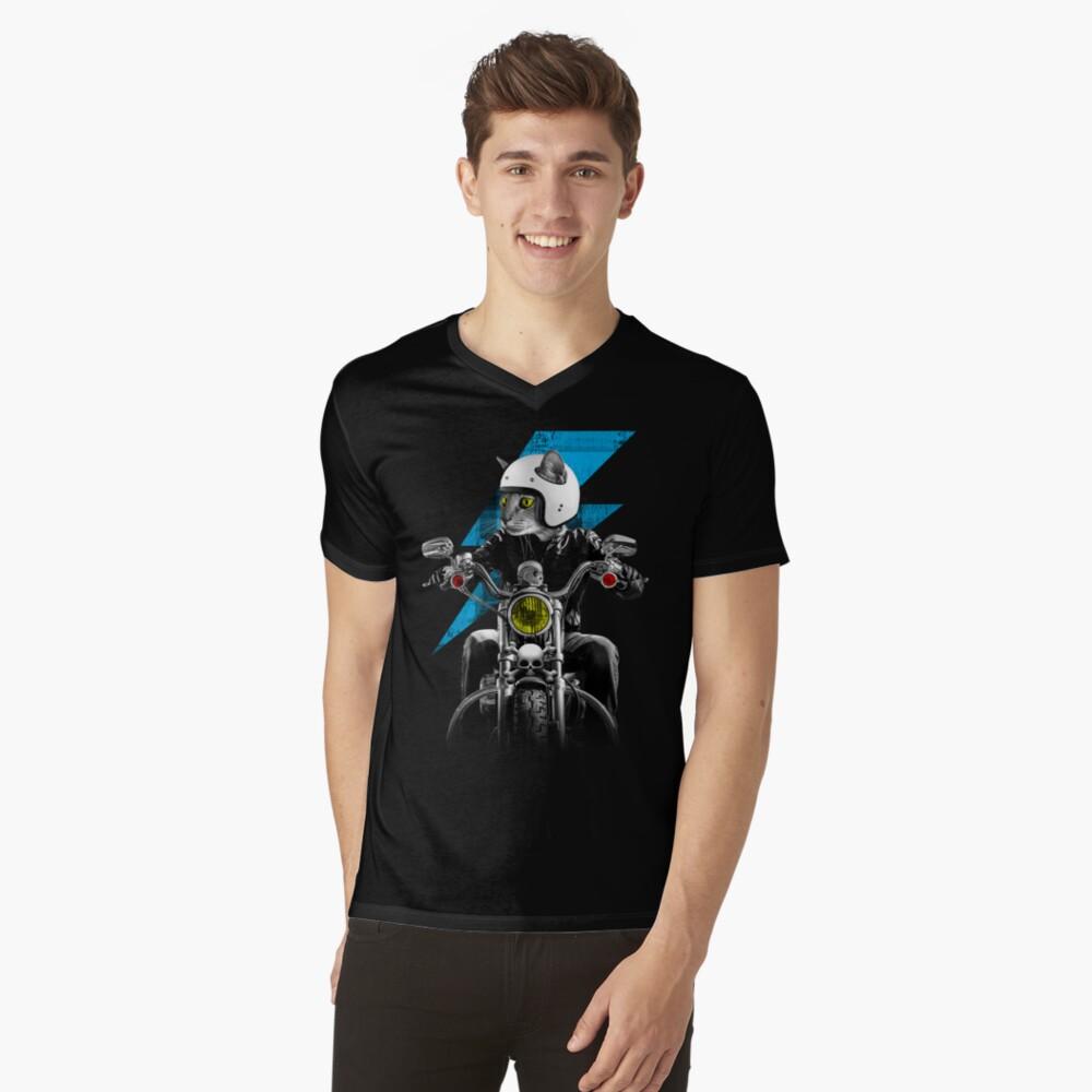 Biker Cat V-Neck T-Shirt