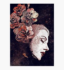 Obey Me: Blood (graffiti female portrait, lady with flowers) Photographic Print