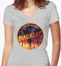 Magaluf, Magaluf t shirt, Magaluf sticker, Spain, with palmtrees Women's Fitted V-Neck T-Shirt