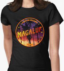 Magaluf, Magaluf tshirt, Magaluf sticker, Spain, with palmtrees, black bg Women's Fitted T-Shirt