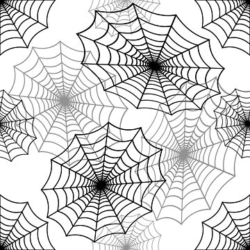 Black Spider Web Cobweb Silk Pattern on White by Creepyhollow