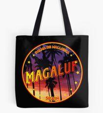 Magaluf, Magaluf tshirt, Magaluf sticker, Spain, with palmtrees, black bg Tote Bag
