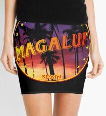 Magaluf, Magaluf tshirt, Magaluf sticker, Spain, with palmtrees, black bg Mini Skirt