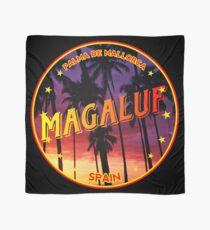Magaluf, Magaluf tshirt, Magaluf sticker, Spain, with palmtrees, black bg Scarf