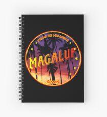 Magaluf, Magaluf tshirt, Magaluf sticker, Spain, with palmtrees, black bg Spiral Notebook