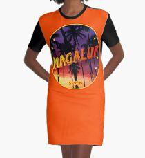 Magaluf, Magaluf poster, tshirt, Spain, with palmtrees, orange bg Graphic T-Shirt Dress