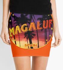 Magaluf, Magaluf poster, tshirt, Spain, with palmtrees, orange bg Mini Skirt