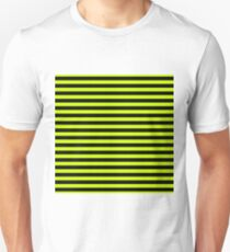 Small Slime Green and Black Horizontal Witch Stripes Unisex T-Shirt