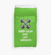 gym workout keep calm design Duvet Cover
