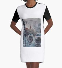 Streetscape watercolor Graphic T-Shirt Dress