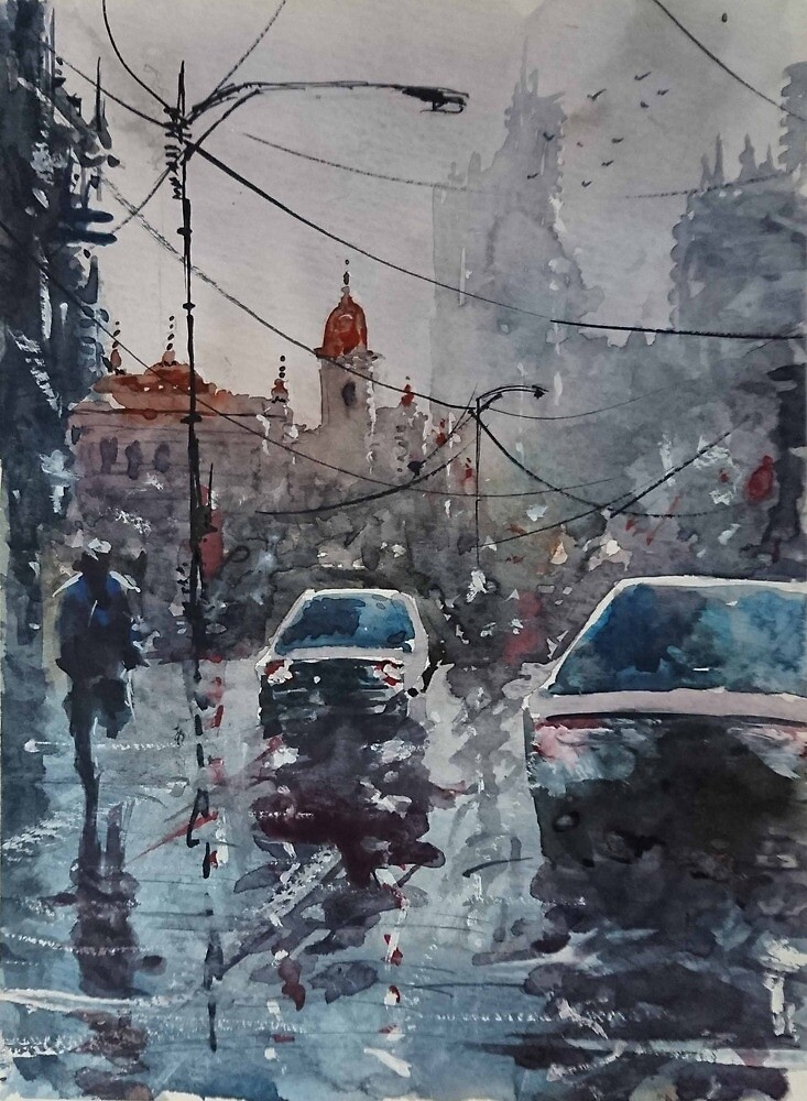 Streetscape watercolor by maroodesigns