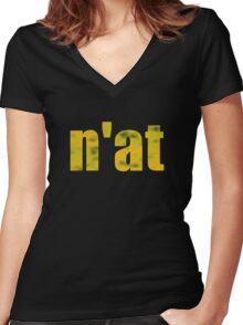 Vintage n'at (Pittsburgh) text Women's Fitted V-Neck T-Shirt