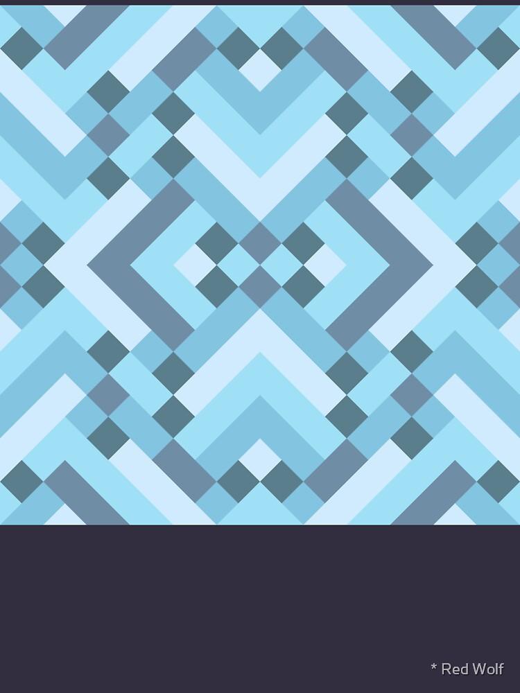 Geometric Pattern: Woven Rug: Blue by redwolfoz