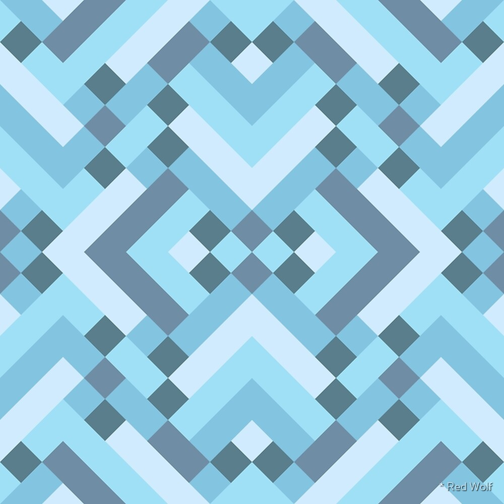Geometric Pattern: Woven Rug: Blue by * Red Wolf