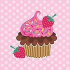 Strawberry & Chocolate Cupcake by prettycritters